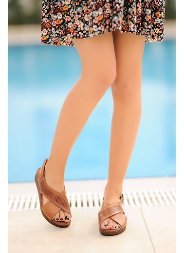 Pembe Potin A104-20 Kadın Sandalet Taba